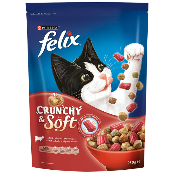 Felix Crunchy & Soft mit Rind, Huhn und Gemüse