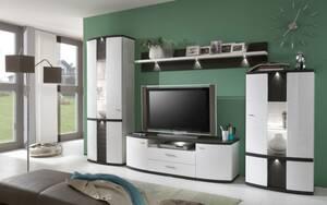 Ideal-Möbel - Wohnwand Cabana in weiß/graphit