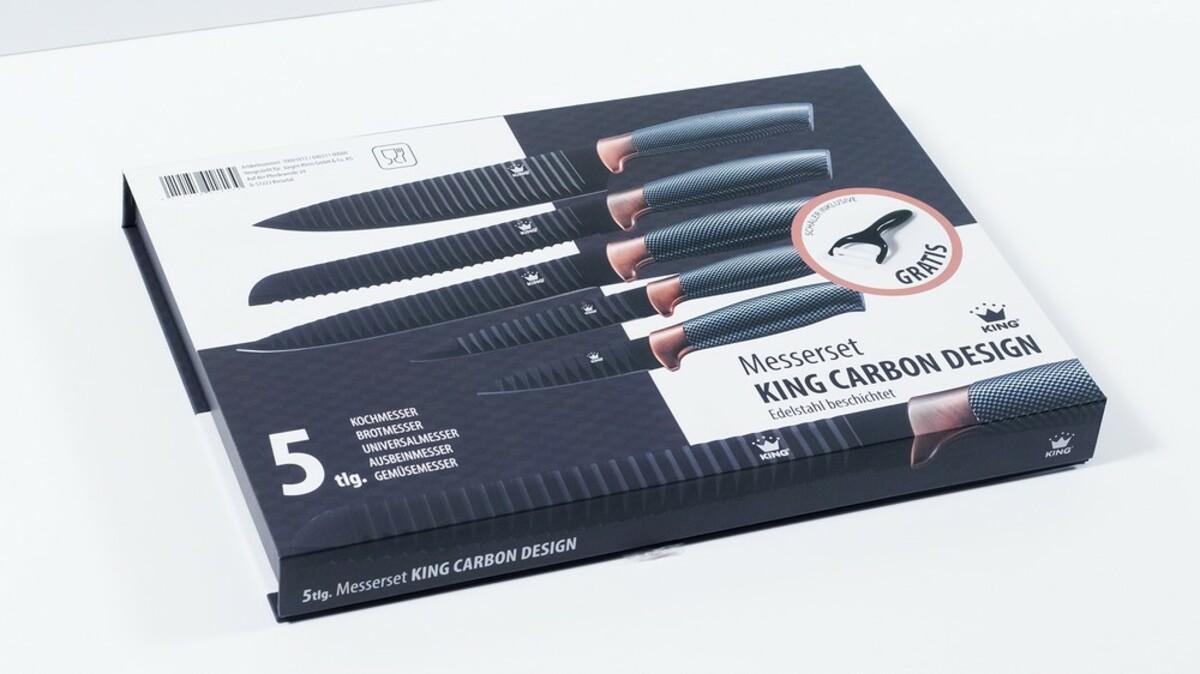Bild 3 von KING Messerset Carbon Design 5 Messer im Set inkl. gratis Schäler