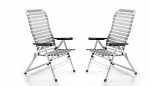 Powertec Garden Aluminium Camping-Sessel, Weiß - 2er Set