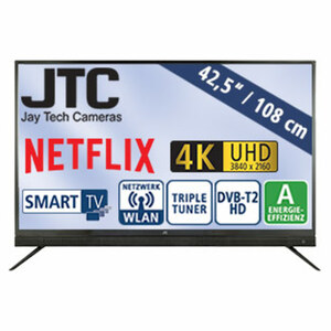 "42,5""-Ultra-HD-LED-TV Atlantis Sound 4.3NB • 3 HDMI-/ 2 USB-Anschlüsse, CI+ • Stand-by: 0,5 Watt, Betrieb: 60 Watt • Maße: H 60,3 x B 97,1 x T 9,5 cm • Energie-Effizienz A (Spektrum A++ b"