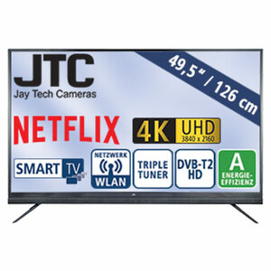 "49,5""-Ultra-HD-LED-TV Atlantis Sound 5.0N • 3 HDMI-/2 USB-Anschlüsse, CI+ • Stand-by: 0,5 Watt, Betrieb: 86 Watt • Maße: H 69,7 x B 113,1 x T 10,1 cm • Energie-Effizienz A (Spektrum A++ b"