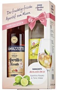 Ramazzotti Aperitivo Rosato + Schweppes Indian Tonic Water Geschenkpackung PROMO | 15 % vol | 0,7 l