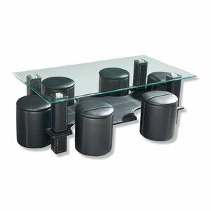 Couchtisch - Sicherheitsglas - schwarz - mit 6 Hockern - 1015082400