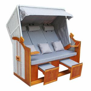 3-Sitzer Strandkorb BINZ - hellblau-weiß - massiv - 160x165 cm