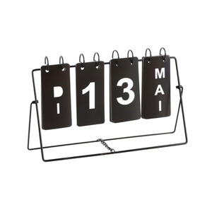 Kalender Metall 27 x 15 x 7 cm in schwarz
