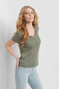 V-Shirt in Melange-Optik