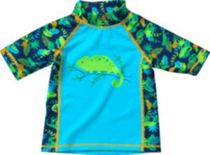 PUSBLU Badeshirt mit UV-Schutz, Gr. 98, in Polyamid und Elasthan, blau, grün, für Jungen