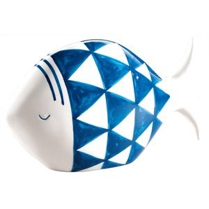 casaNOVA Deko Fisch 18 cm Dolomit blau/weiß