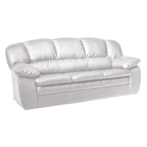 Sofa 3-Sitzer MORTON 92 x 191 cm Lederlook weiß