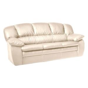 Sofa 3-Sitzer MORTON 92 x 191 cm Lederlook cremebeige