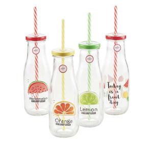 Trinkflasche Fruits mit Strohhalm  400 ml in versch. Farben