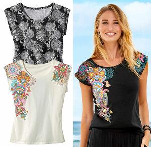 Laura Torelli COLLECTION Damen-T-Shirt mit trendigem Blumenmuster