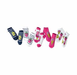 Mädchen-Sneaker-Socken mit süßen Motiven, 5er Pack
