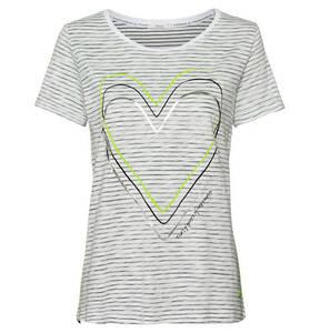 CECIL             T-Shirt, Rundhalsausschnitt, gestreift, Herz-Print