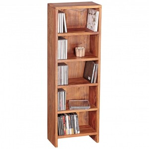WOHNLING CD Regal Massivholz Sheesham Standregal 90 cm hoch CD-Aufbewahrung 5 Fächer Bücherregal nat