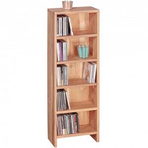 WOHNLING CD Regal Massivholz Akazie Standregal 90 cm hoch CD-Aufbewahrung 5 Fächer Bücherregal natur