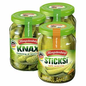 Knax Gurken oder Sticksi süß-würzig jedes 370-ml-Glas/185 g Abtropfgewicht, ab 3 Gläsern je