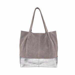 Echtleder Shopper grau-silber
