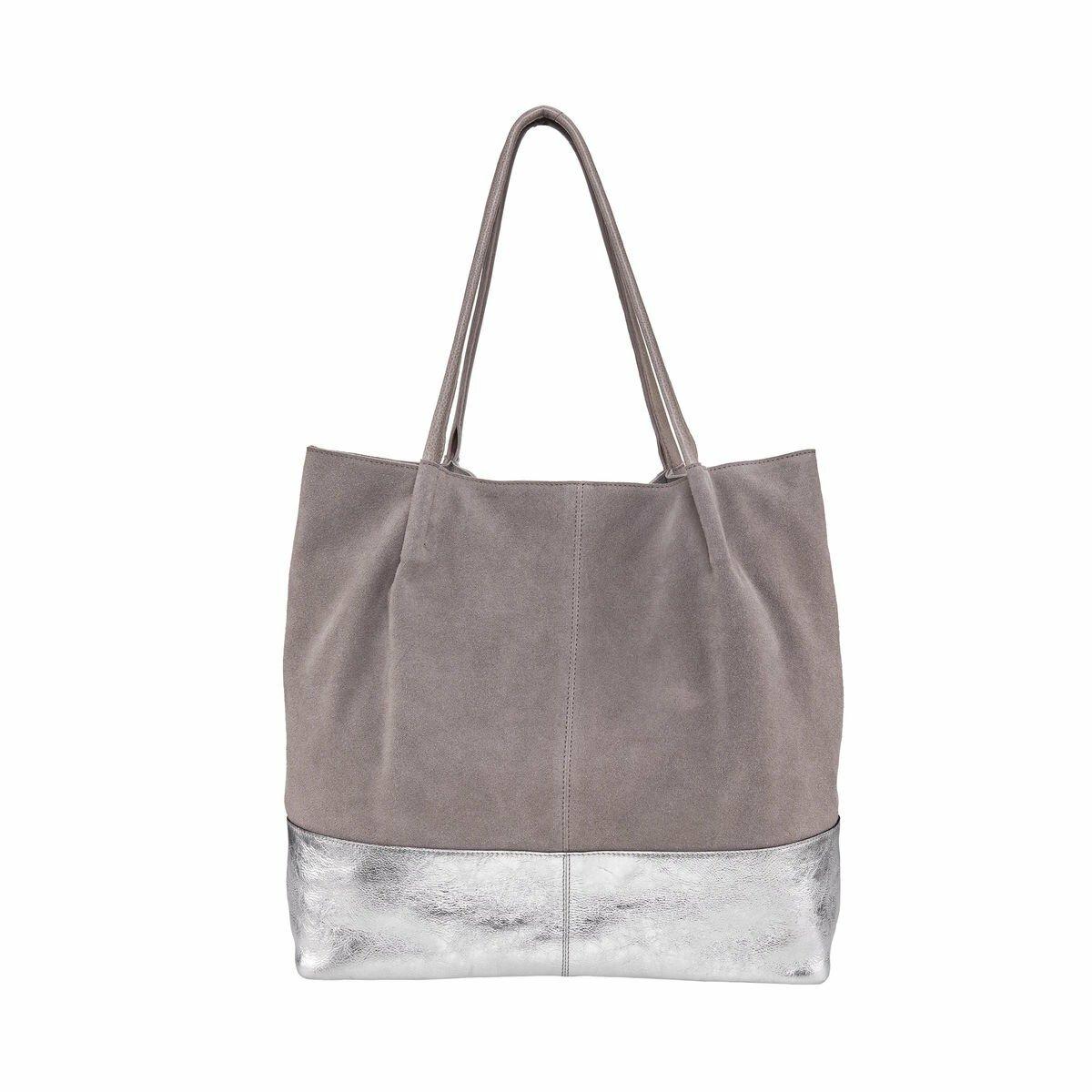 Bild 1 von Echtleder Shopper grau-silber