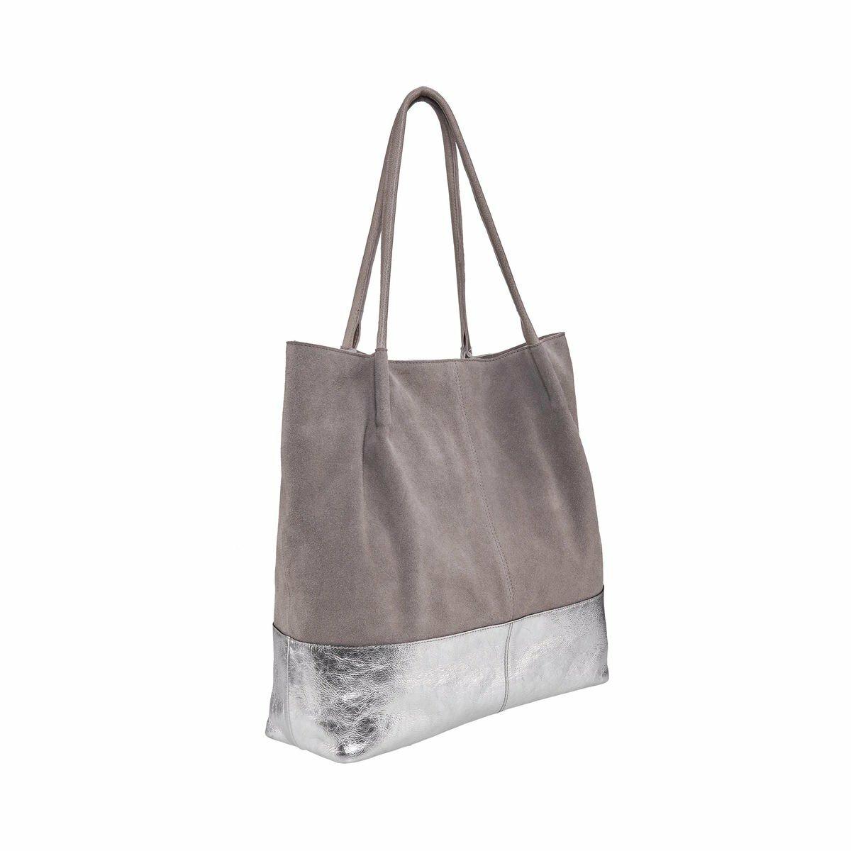 Bild 2 von Echtleder Shopper grau-silber