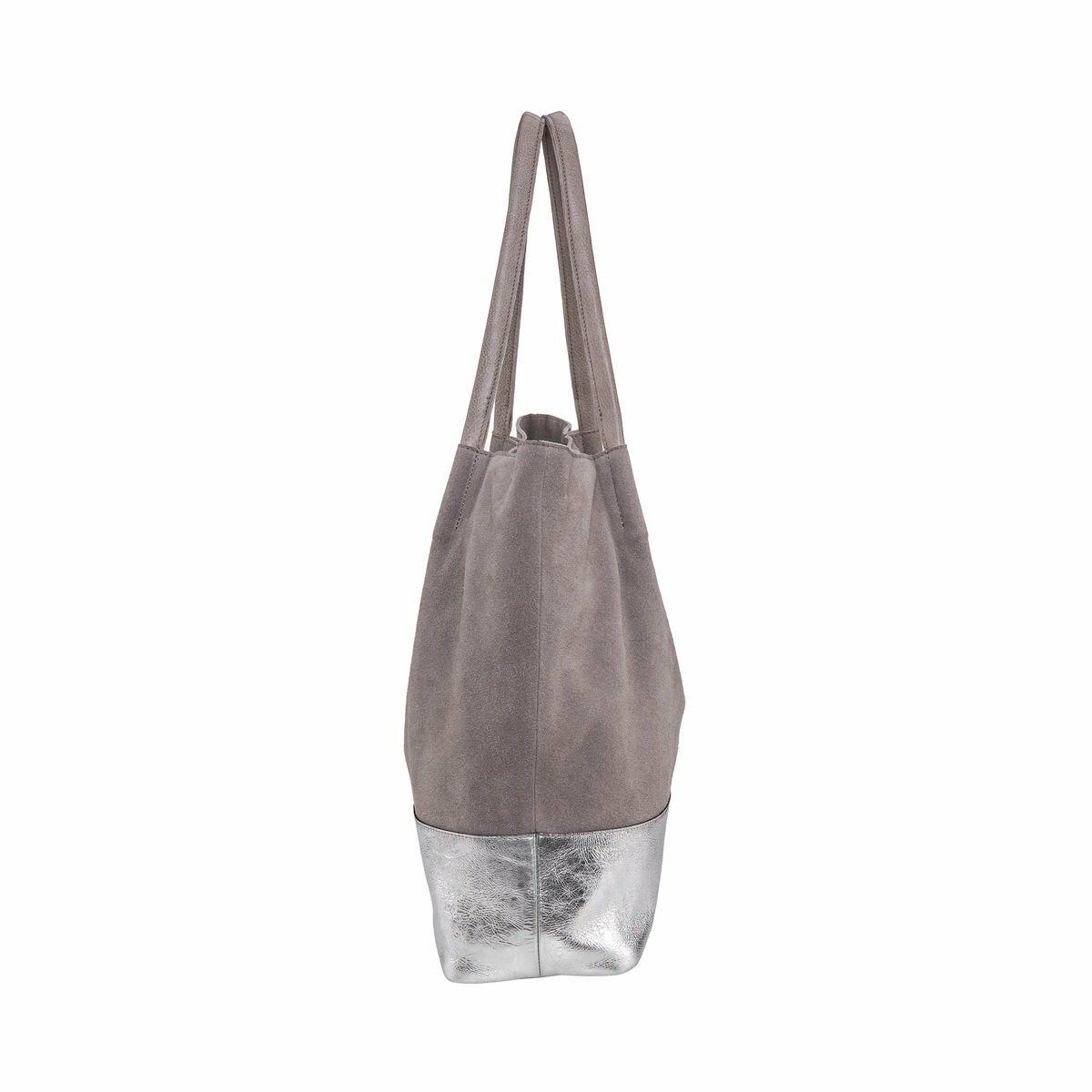 Bild 3 von Echtleder Shopper grau-silber