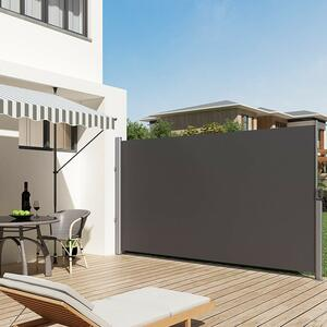 SONGMICS 200 x 350 cm Seitenmarkise Anthrazit ausziehbar wasserdicht Seitenrollo Sichtschutz Sonnenschutz GSA205G