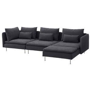 SÖDERHAMN                                4er-Sofa, mit Récamiere, Samsta dunkelgrau