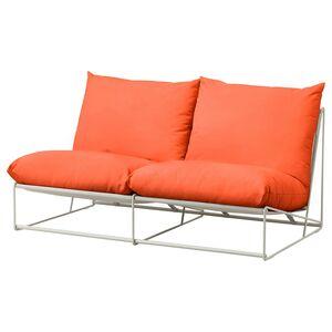 HAVSTEN                                2er-Sofa, drinnen/draußen, ohne Armlehnen orange, beige, 164x94x90 cm