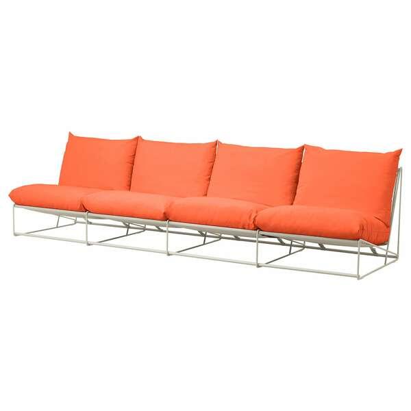 HAVSTEN                                4er-Sofa, drinnen/draußen, ohne Armlehnen orange, beige, 326x94x90 cm