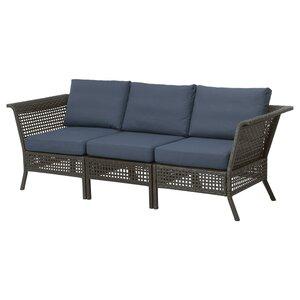 KUNGSHOLMEN                                3er-Sitzelement/außen, schwarzbraun, Frösön/Duvholmen blau, 222x80x90 cm
