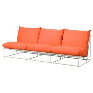 HAVSTEN                                3er-Sofa, drinnen/draußen, ohne Armlehnen orange, beige, 245x94x90 cm
