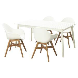 HATTHOLMEN / FANBYN                                Tisch+4 Armlehnstühle/außen, Eukalyptus weiß, weiß