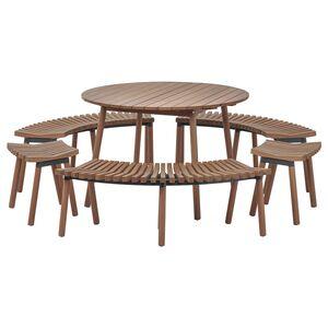ÖVERALLT                                Tisch mit 3 Bänken und 2 Hockern, für draußen hellbraun