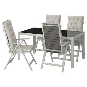 SJÄLLAND                                Tisch+4 Hochlehner/außen, Glas, Kuddarna grau, 156x90 cm
