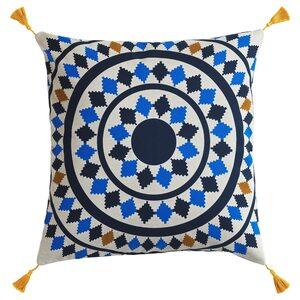 TILLTALANDE                                Kissenbezug, Kreise, blau/naturfarben, 50x50 cm