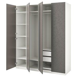 PAX                                Kleiderschrank, weiß, Flornes dunkelgrau, 200x60x236 cm
