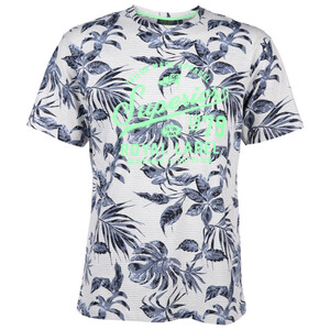 Herren T-Shirt mit Blätterprint und Streifen