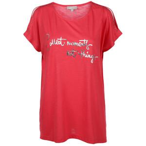 Damen Shirt mit Glitzerprint und offener Schulter