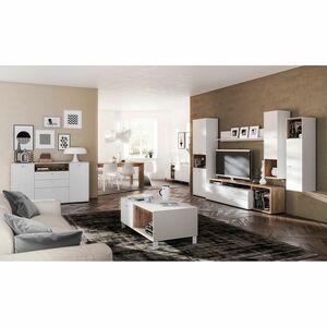 home24 Couchtisch Design2- Weiss / Eiche Navarra