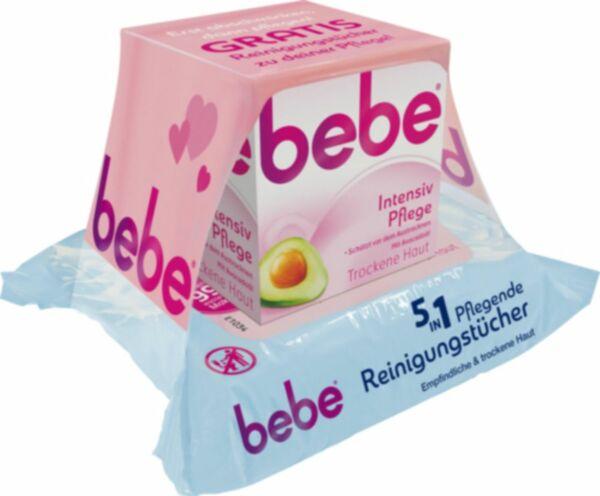 Bebe Intensivpflegecreme + Reinigungstücher gratis 50ml