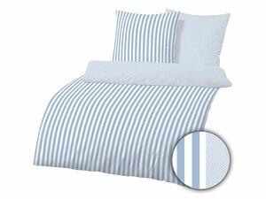 Dobnig Mako-Satin Bettwäsche Streifen taubenblau
