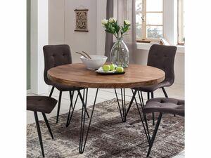 Wohnling Esszimmertisch rund Ø 120 cm Massivholz Sheesham Esstisch Küchentisch