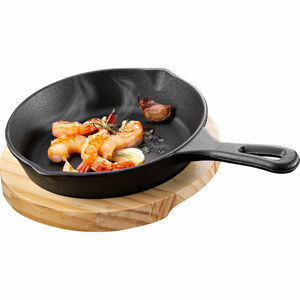 Küchenprofi BBQ Grill-/Servierpfanne rund, mit Holzbrett, 26,5 cm