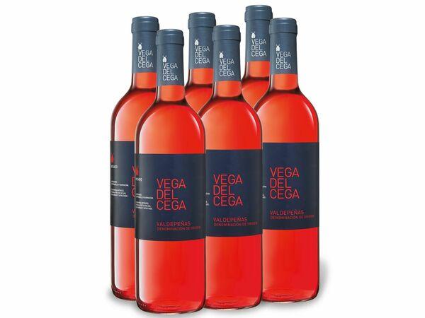 6 x 0,75-l-Flasche Weinpaket Vega del Cega Valdepeñas, Roséwein