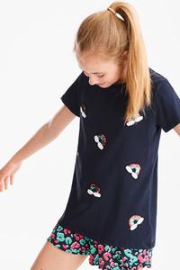 Here and There         Kurzarmshirt - Bio-Baumwolle - Glanz Effekt