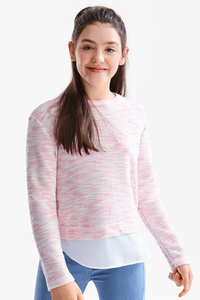 Here and There         Pullover - 2-in-1-Look