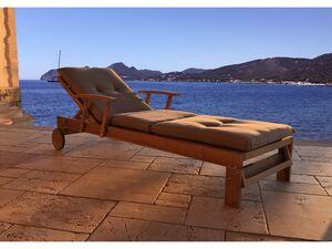 Grasekamp Gartenliege Teak mit Kissen Sand  Liegestuhl Sonnenliege Relaxliege