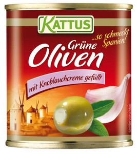 Kattus Oliven mit Knoblauchcreme gefüllt 200 g