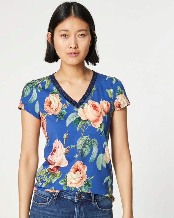 V-Shirt mit Rosenprint